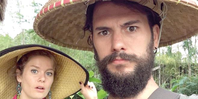 Pirinç tarlasında selfie
