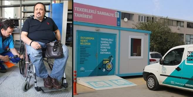 Tekerlekli sandalyelerin tamiri Nilüfer Belediyesi'nden