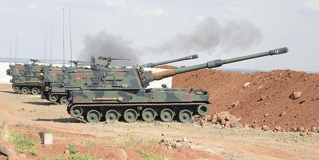 IŞİD mevzisi obüslerle vuruluyor