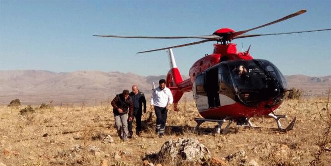 Ambulans helikoptere dumanla mesaj