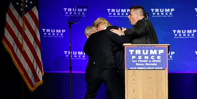 Trump güvenlik gerekçesiyle kürsüden indirildi