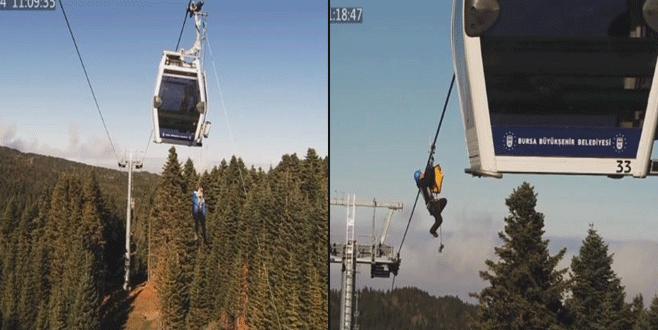 45 metre yükseklikte mahsur kalan turist böyle kurtarıldı