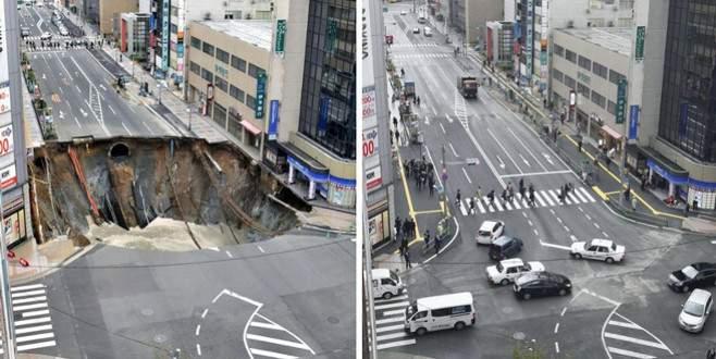 Çöken yol 48 saatte onarıldı