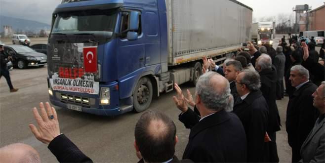 Bursa'dan Halep'e 40 TIR yardım
