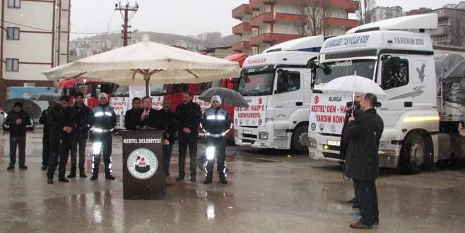 Kestel'den Halep için 11 TIR yardım