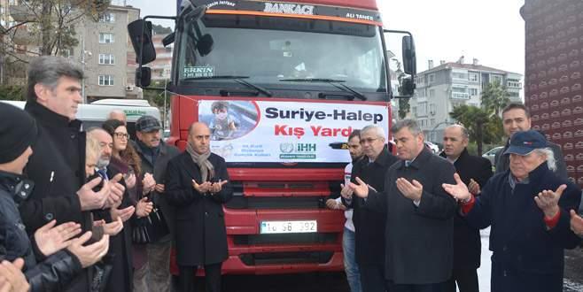 Mudanya'dan Halep için yardım TIR'ı