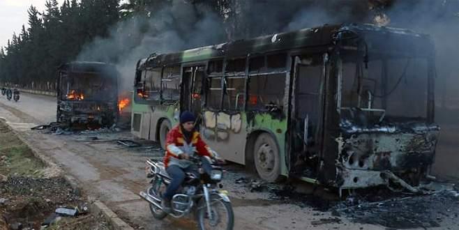 Halep'te tahliye otobüsleri ateşe verildi