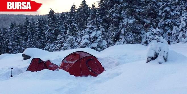 Uludağ'da -18 derecede kamp