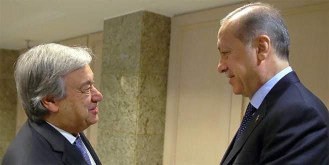 Erdoğan ve Guterres terörle mücadelede mutabık kaldı