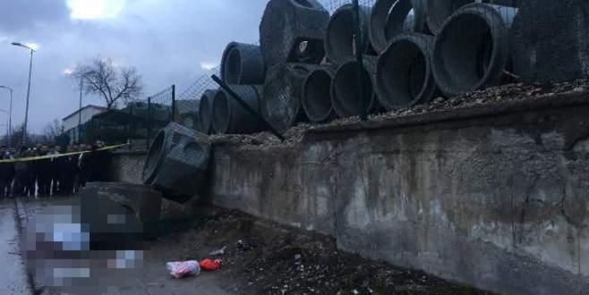Yaşlı çiftin üzerine beton kanalizasyon boruları düştü: 1 ölü, 1 yaralı