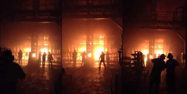 Bursa'da cam fabrikasında büyük yangın