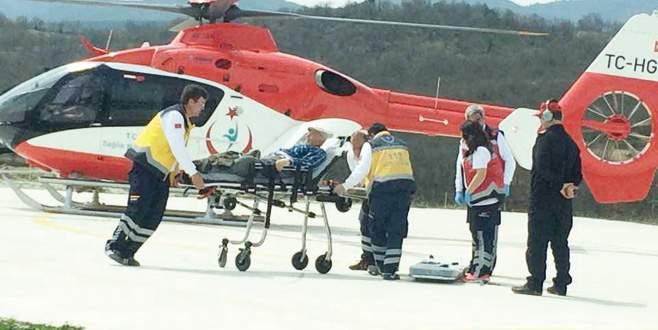 Helikopterle hastaneye kaldırıldı