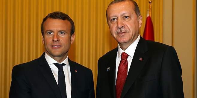Erdoğan ile Macron ile bir araya geldi