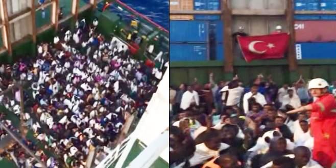 Batmak üzere olan teknedeki göçmenleri Türk gemisi kurtardı