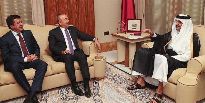 Çavuşoğlu ve Zeybekci, Katar Emiri Al Sani ile görüştü