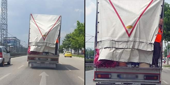 Bursa'da trafikte tehlikeli yolculuk