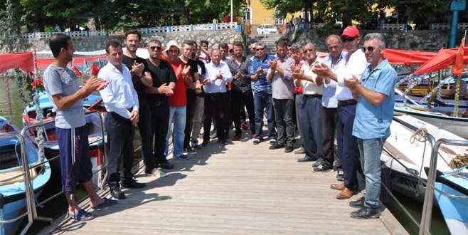 Gölyazı'da kayıkçılar eylem yaptı