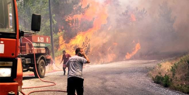 Alanya'da orman yangını, evler tahliye ediliyor