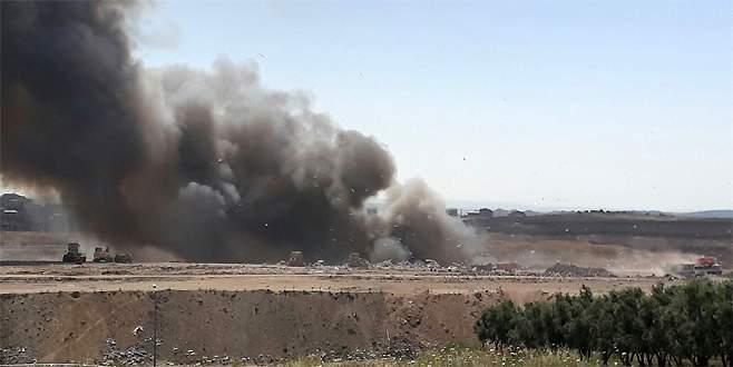 Bursa'da katı atık depolama sahasında yangın!