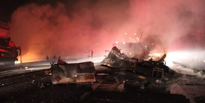 Denizli'de TIR'la çarpışan tankerde patlama: 3 ölü, 4 yaralı