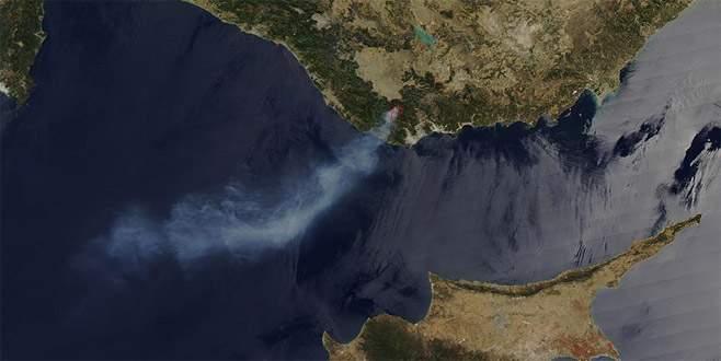 Mersin'deki orman yangını NASA'nın uydu görüntüsünde