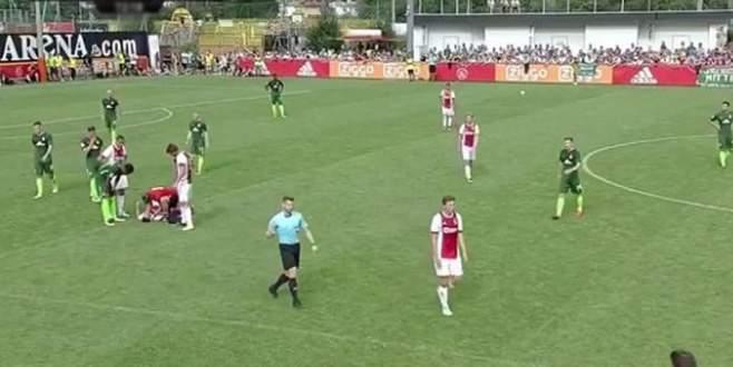 Genç futbolcu hazırlık maçında yere yığıldı