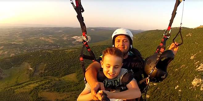 Bursa'da görme engelli çocuğun uçma hayali gerçek oldu