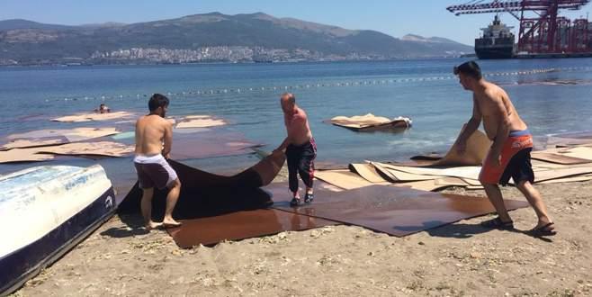 Yüzlerce sunta parçası kıyıya vurdu