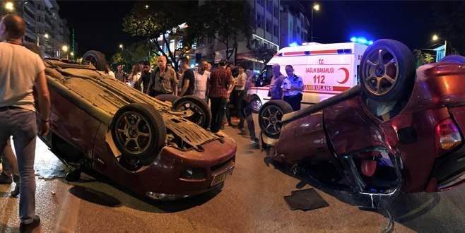 Bursa'da otomobil takla attı: 4 yaralı