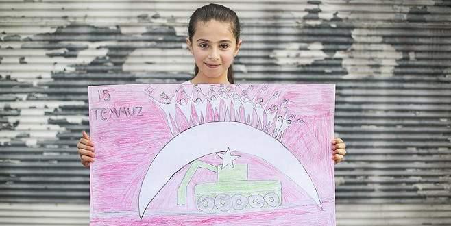 Suriyeli çocuklar 15 Temmuz'u resmetti