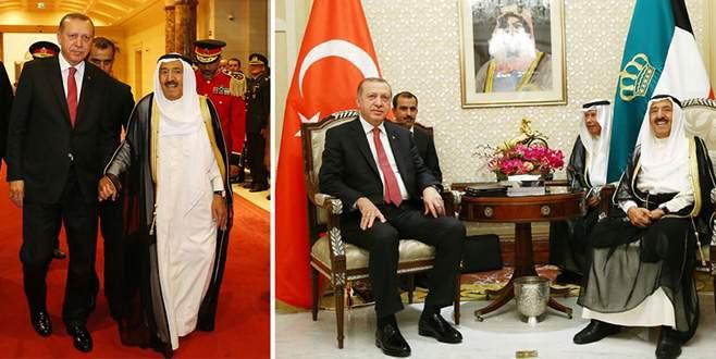 Cumhurbaşkanı Erdoğan Kuveyt Emiri Sabah ile görüştü