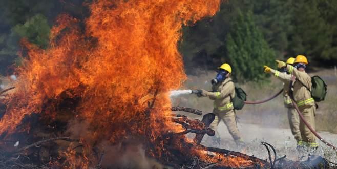 Bursa'da helikopter destekli yangın tatbikatı