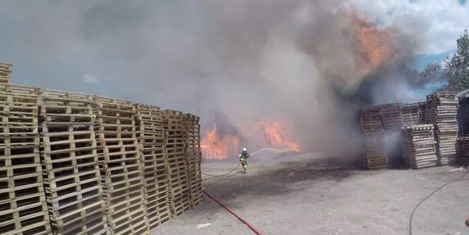 Bursa'da palet fabrikası alev alev böyle yandı