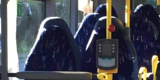 Otobüs koltuklarını burka sandılar