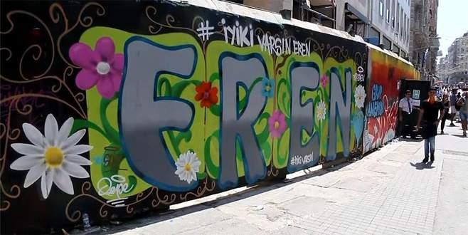 Şehit Eren Bülbül için İstiklal Caddesi'nde grafiti yapıldı