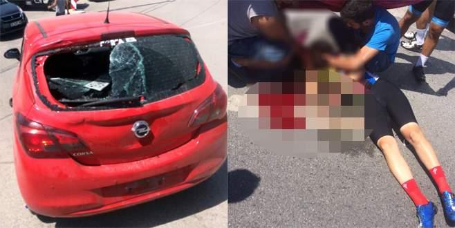 Bursa'da bisiklet sürücüsünü kanlar içinde bırakan kaza