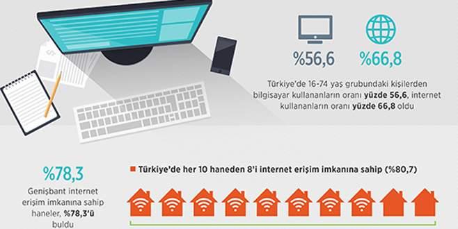 10 haneden 8'i internet kullanıyor