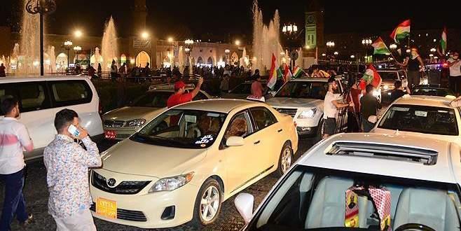 Erbil'de sonuç açıklanmadan kutlama başladı