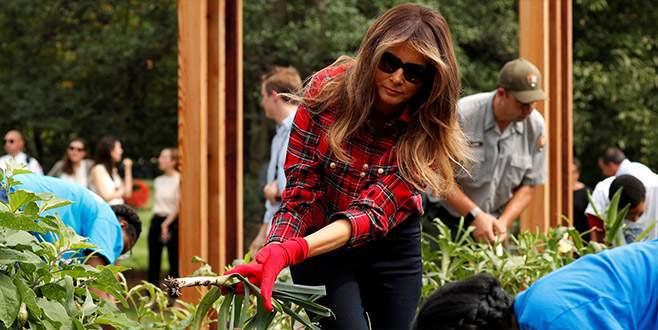 First Lady biber ve pırasa topladı
