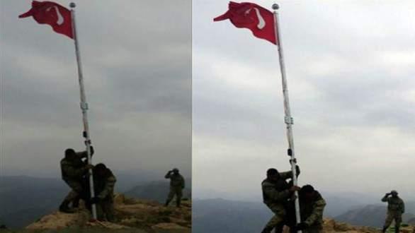 Türk askeri Kuzey Irak'ta bayrak dikti