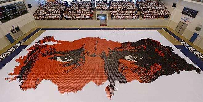 Bursa'da 32 bin karton bardakla Türkiye haritası yaptılar