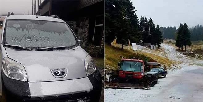 Uludağ'a sezonun ilk karı yağdı