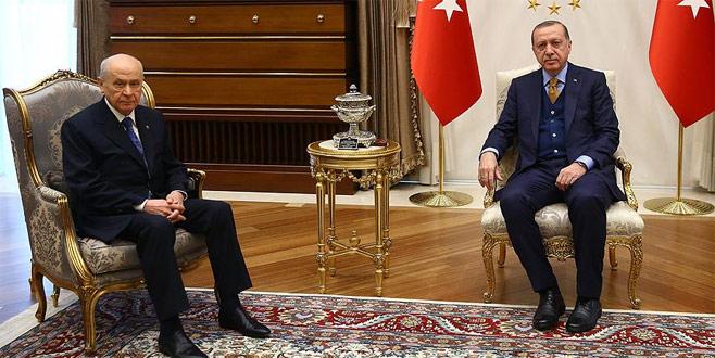 Erdoğan ile Bahçeli Zeytin Dalı Harekatı'nı görüştü