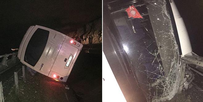 Beşiktaş taraftarını taşıyan otobüs maç dönüşü kaza yaptı