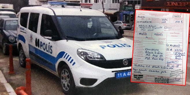 Polis aracına hatalı park cezası