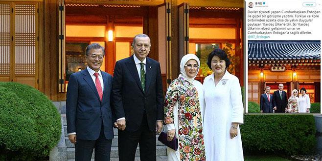 Cumhurbaşkanı Erdoğan Güney Kore Liderinin tweetini paylaştı