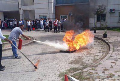 Hastanede yangın tatbikatı