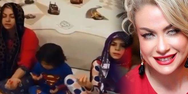 Çocuklarına dua etmeyi öğretti! Sosyal medyada olay oldu