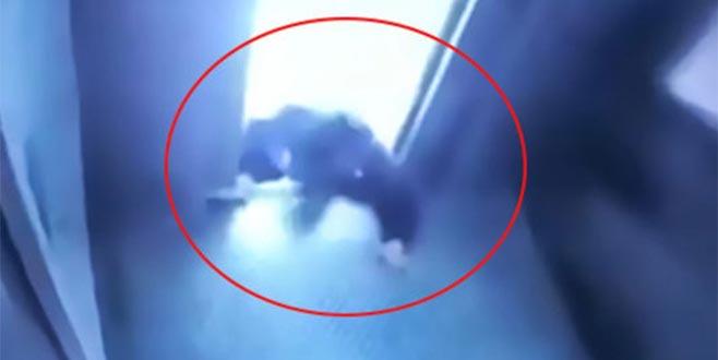 Asansörde korku dolu anlar! Bir anda hareket etti