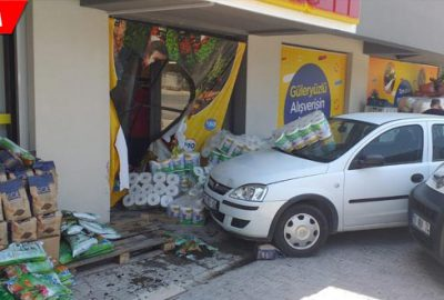 Vitesi karıştırdı, markete daldı: 2 yaralı